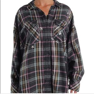 Free People Star Button Up Plaid Shirt